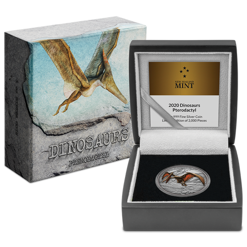 Dinosaurs – Pterodactyl 1oz Silver Coin Display Packaging