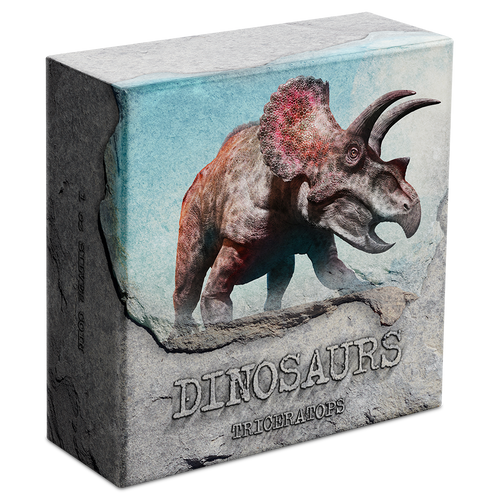 Dinosaurs - Triceratops 1oz Silver Coin Display Box