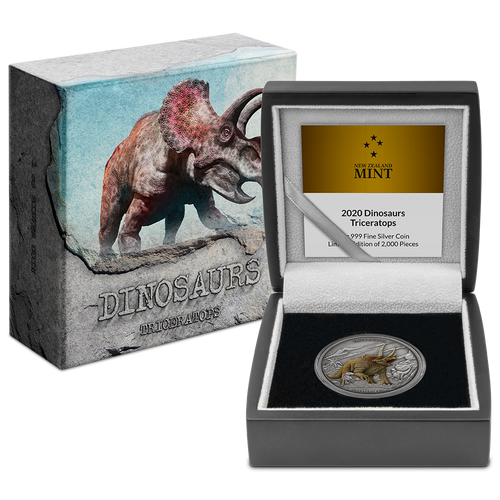 Dinosaurs - Triceratops 1oz Silver Coin Packaging