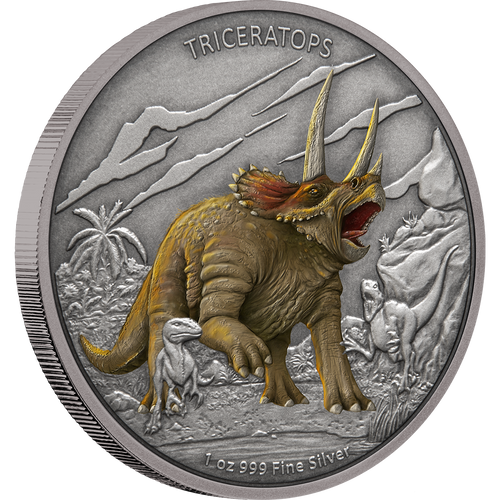 Dinosaurs - Triceratops 1oz Silver Coin Front