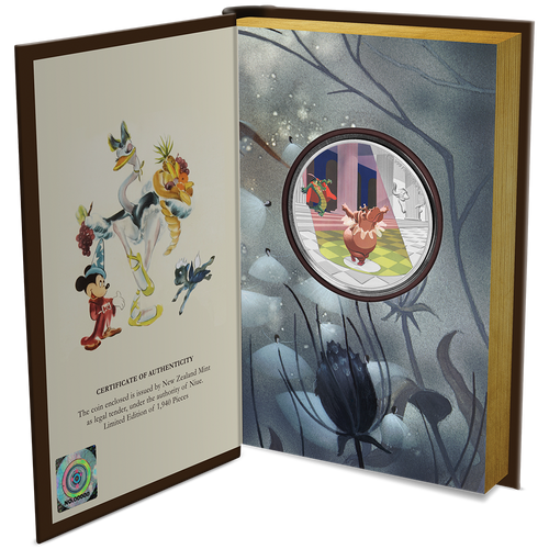 "Disney's Fantasia 80th – ""Dance of the Hours"" 1oz Silver Coin Booklet Packaging Open"