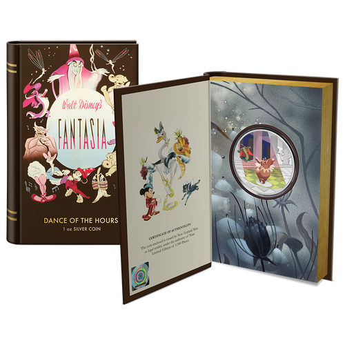 "Disney's Fantasia 80th – ""Dance of the Hours"" 1oz Silver Coin Booklet Packaging Open Front"