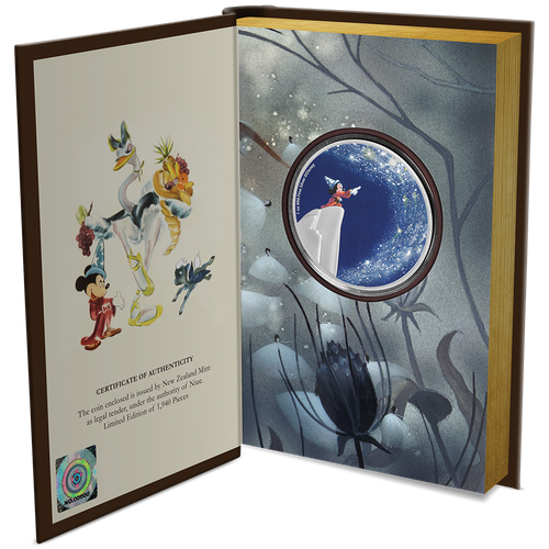 "Disney's Fantasia 80th Anniversary – ""The Sorcerer's Apprentice"" 1oz Silver Coin Inside Packaging"