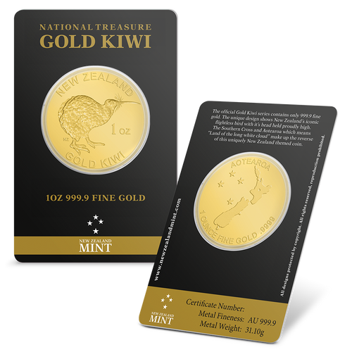 1oz Gold Kiwi Bullion Coin | NZ Mint | Tamperproof Packaging Both Sides