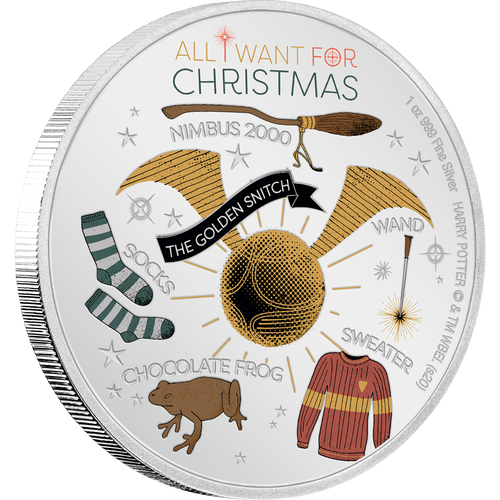 HARRY POTTER Season's Greetings 2020 1oz Silver Coin NZ Mint