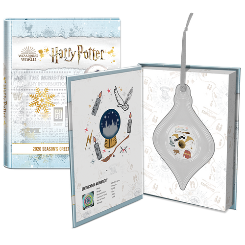 HARRY POTTER Season's Greetings 2020 1oz Silver Coin Booklet Packaging