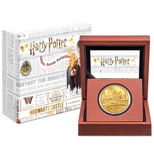 HARRY POTTER™ - Hogwarts Castle 1oz Gold Coin Packaging