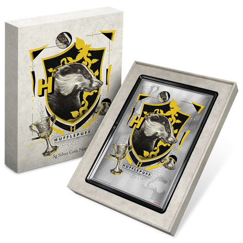 HARRY POTTER™ - Hogwarts House Banners - Hufflepuff 5g Silver Coin Note Packaging