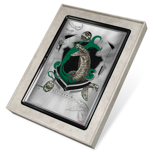 HARRY POTTER™- Hogwarts House Banners - Slytherin 5g Silver Coin Note Display