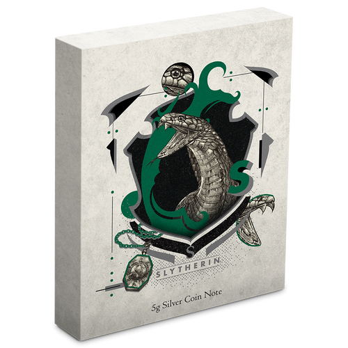 HARRY POTTER™- Hogwarts House Banners - Slytherin 5g Silver Coin Note Box