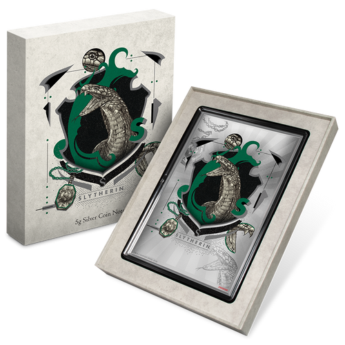 HARRY POTTER™- Hogwarts House Banners - Slytherin 5g Silver Coin Note Packaging