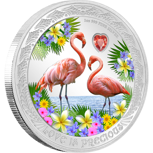 Love is Precious – Flamingos 1oz Silver Coin NZ Mint