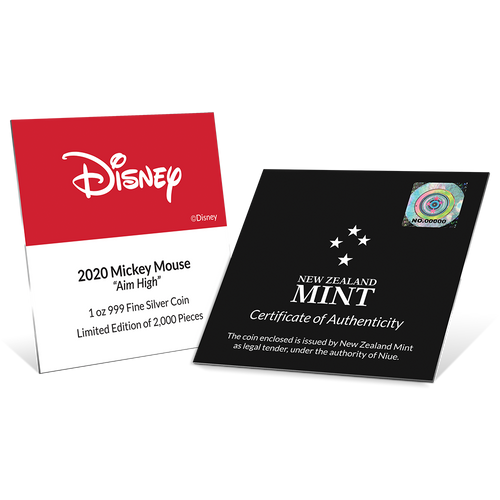 Disney Mickey Mouse 2020 – Aim High 1oz Silver Coin Certificate of Authenticity