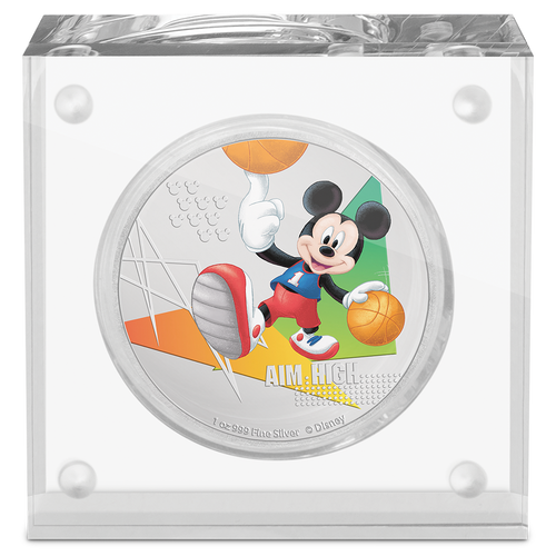 Disney Mickey Mouse 2020 – Aim High 1oz Silver Coin in Perspex