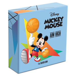 Disney Mickey Mouse 2020 – Aim High 1oz Silver Coin Packaging