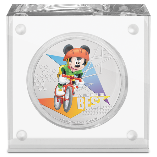 Disney Mickey Mouse 2020 – It's Time to be the Best 1oz Silver Coin in Perspex