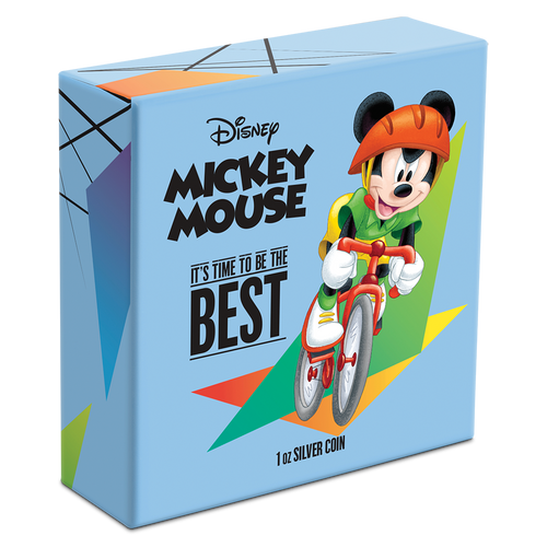 Disney Mickey Mouse 2020 – It's Time to be the Best 1oz Silver Coin Cycling Packaging