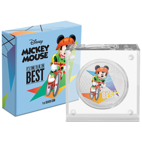 Disney Mickey Mouse 2020 – It's Time to be the Best 1oz Silver Coin Packaging