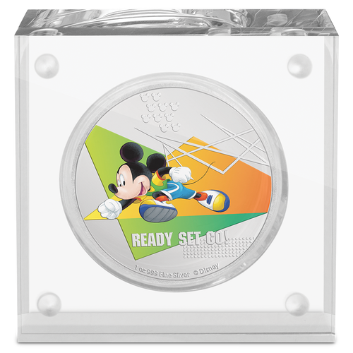 Disney Mickey Mouse 2020 – Ready Set Go! 1oz Silver Coin in Perspex Display