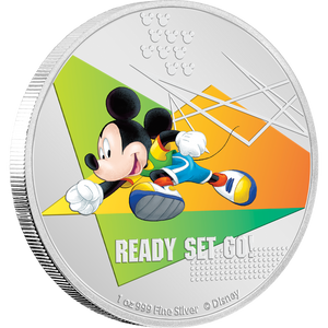 Disney Mickey Mouse 2020 – Ready Set Go! 1oz Silver Coin NZ Mint