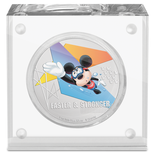 Disney Mickey Mouse 2020 – Faster & Stronger 1oz Silver Coin in Perspex