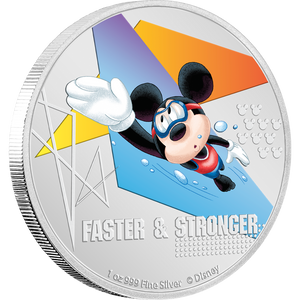 Disney Mickey Mouse 2020 – Faster & Stronger 1oz Silver Coin NZ Mint
