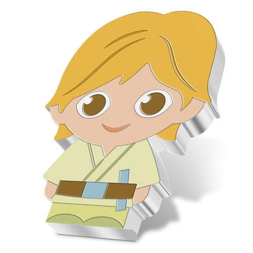 SOLD OUT! Chibi™ Coin Collection Star Wars™ Series – Luke Skywalker™ 1oz Silver Coin Angled View