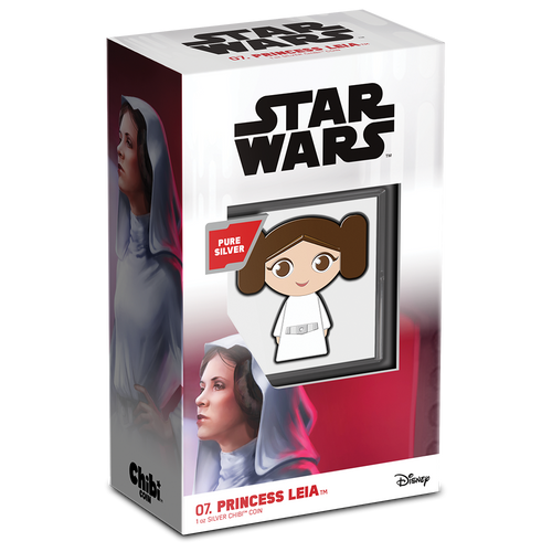 SOLD OUT! Chibi™ Coin Collection Star Wars™ Series – Princess Leia™ 1oz Silver Coin Packaging and Certificate of Authenticity