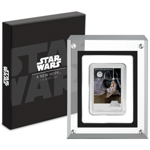 Star Wars: A New Hope Poster 1oz Silver Coin perspex packaging