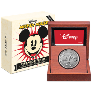 Disney – Steamboat Willie 1oz Silver Coin Packaging