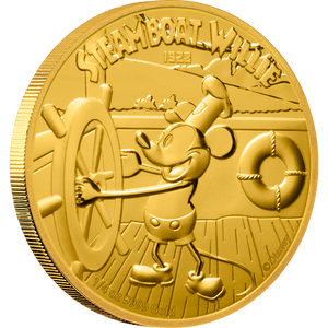 Disney - Steamboat Willie ¼oz Gold Coin Front | NZ MInt