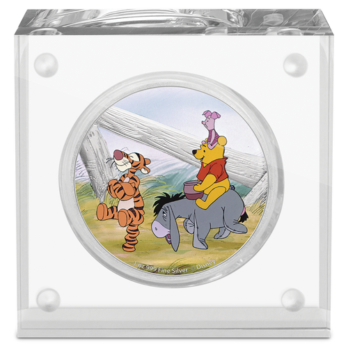 Disney Winnie the Pooh – Pooh & Friends 1oz Silver Coin in Perspex Display
