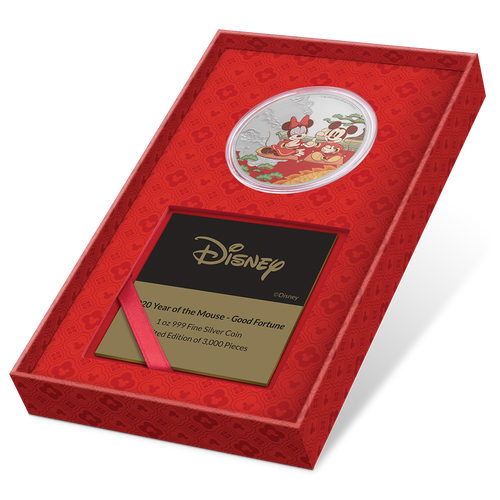 Disney 2020 Year Of The Mouse – Good Fortune 1oz Silver Coin Display