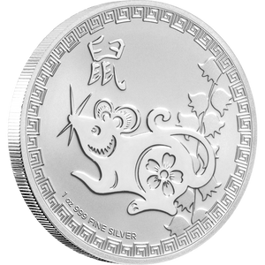 1oz Silver Bullion Coin Year Of The Rat Niue 2020 featuring rat and Chinese 'rat' characters