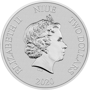 1oz Silver Bullion Coin Obverse, featuring the Queen's effigy