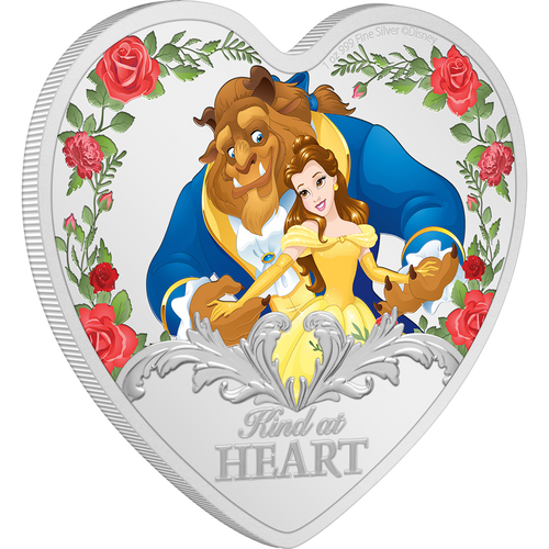 Beauty and the Beast 30th Anniversary 1oz Silver Coin Heart Shaped | NZ Mint