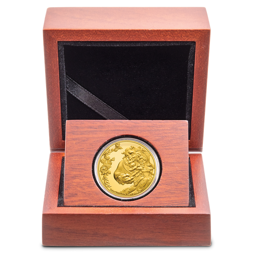 Beauty and the Beast 30th Anniversary 1/4oz Gold Coin in Wooden Display Case with Velveteen Lining