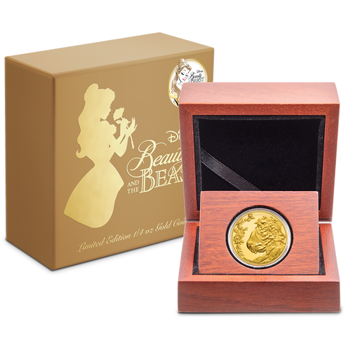 Beauty and the Beast 30th Anniversary 1/4oz Gold Coin in Wooden Display Box and Outer Packaging Featuring Belle