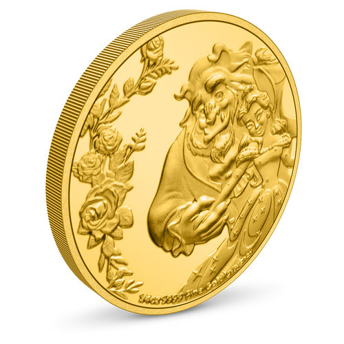 Beauty and the Beast 30th Anniversary 1/4oz Gold Coin Edge View