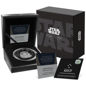 Star Wars™ Clone Trooper™ Helmet Ultra High Relief 2oz Silver Coin Display Packaging, Display Box, and Certificate of Authenticity
