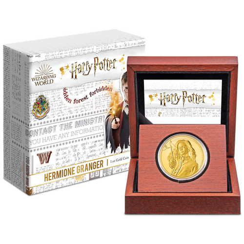 HARRY POTTER™ Classic - Hermione Granger™ 1oz Gold Coin Display Packaging