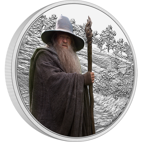 Looking for a limited edition and licensed THE LORD OF THE RINGS™ collectible coin? Wise and valiant, Gandalf the Grey, features on this intricately engraved 1oz silver coin. On one side it shows a detailed engraving of the Shire, with the powerful wizard in colour in the foreground. NZ Mint