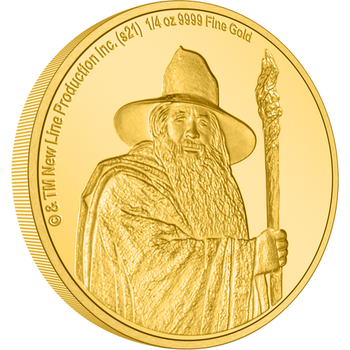 Gandalf the Grey, features on this intricately engraved ¼ oz collectible gold coin. On one side it shows a clean, close-up view of Gandalf holding his staff. On the opposite side, the legal tender status of this stunning collectible coin is confirmed by Her Majesty Queen Elizabeth II effigy. NZ Mint