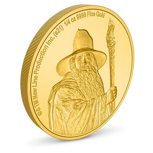 THE LORD OF THE RINGS™ - Gandalf the Grey 1/4oz Gold Coin Milled Edge View