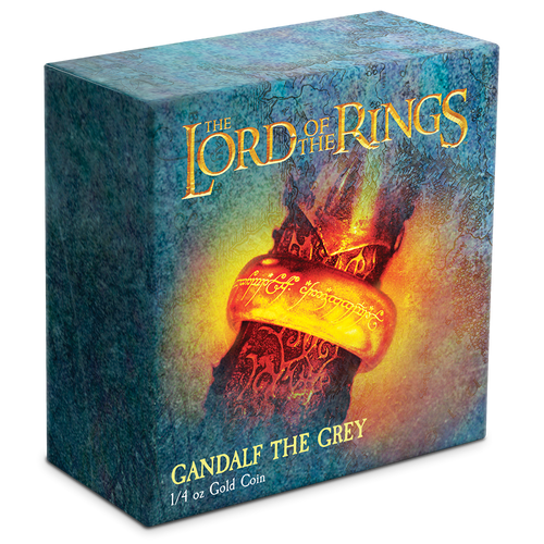 THE LORD OF THE RINGS™ - Gandalf the Grey 1/4oz Gold Coin Display Box Featuring 'The Ring'