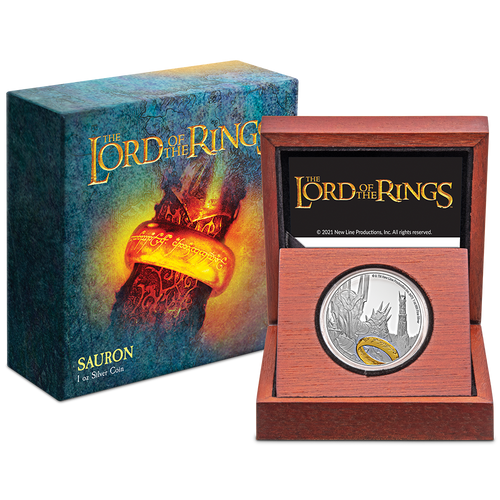 THE LORD OF THE RINGS™ – Sauron 1oz Silver Coin Packaging