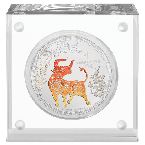 Lunar Year of the Ox 1oz Silver Coin Perspex Display Case