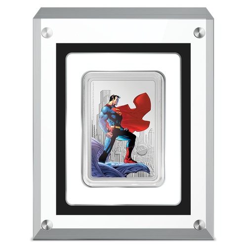 SUPERMAN™ - The Man of Steel 1oz Silver Coin in Perspex