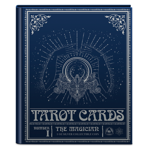 Tarot Cards – The Magician 1oz Silver Coin Bookstyle Packaging Closed