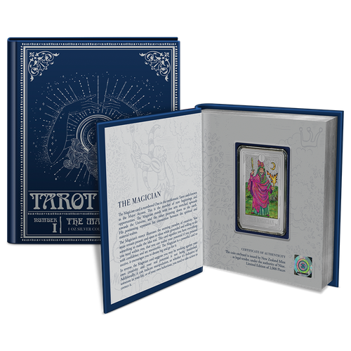Tarot Cards – The Magician 1oz Silver Collectible Coin in Bookstyle Packaging with Coin Insert and Certificate of Authenticity Hologram